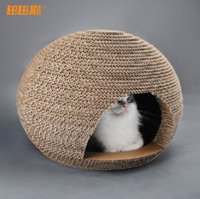 Wholesale Creative pet furniture Handcrafted Corrugated paper oval cattery Meow planet scratching post cathouse