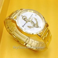 Wholesale Wrist Watches Stainless Fashion Gold Crystal Quartz Vine Drop Anchor Pattern Design Geneva Lady Women Luxury Wrist Watch