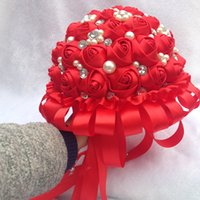 artificial flowes - Red Wedding Bouquet Pearls Beading Rose Flowers Artificial Diameter Wedding Bridal Holding Flowes