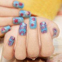 active length nails - Active Length Blue False Nail Patch False Finger Zero Drying Time Artificial Acrilic False Nail