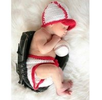 baseball photo props - New Baseball Newborn Baby M Knitted Crochet Costume Photo Photography Props
