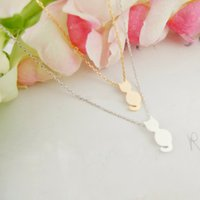 cat - Silver Plated Fine Jewelry Birthday Gift Stainless Steel Cute Cat Charm Pendant Necklace for Women