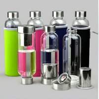 Wholesale 1505 BPA Free Glass Sport Water Bottle with Tea Filter Infuser Protective Bag ml Fruit Outdoor Eco Friendly