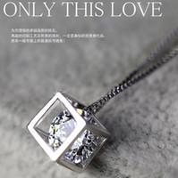 achat en gros de cadeau en argent 925 amour-925 pendentifs en argent sterling femme amour cube fenêtre carrée amour coréenne Colliers bijoux en argent de cadeaux Saint Valentin
