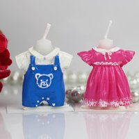 Wholesale New Arrival Baby Dress Candle girl boy clothes candles Favor Baby Shower Birthday Gifts party decorations supplies pink blue color