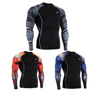 Wholesale Men s Compression Shirt Running Martial Arts Wrestling Tights D Shirt Men Fashion Polyester Clothing Sportswear CPD015