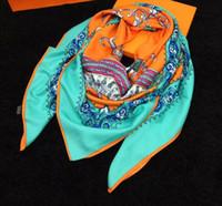Wholesale Fashion Lady Cavaliers du Caucase Orange Cashmere Silk Shawl Scarf GM With Box