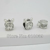 Cheap Antique Silver Metal Zinc Alloy Trendy Double-sided Clock Beads Jewelry Making Beads 30pcs lot 7*10*11mm 6228