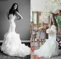 new york dresses - 2015 New York Real Wedding Beautiful Mermaid Wedding Dresses Fit and Flare Strapless Bow Sash Zipper Back Ruched Skirt Organza Court Train