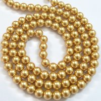Wholesale BSI Golden Inches Strand Of Satin Luster Glass Pearl Round Beads mm Jewelry Making