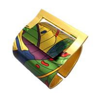 angels china painting - Fashion Design Style Painting Design Opened Bangle Cuff Bracelet For Women Costume High Quality Gold Plated Jewellery B035