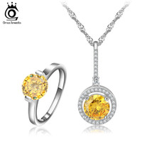 Wholesale New Arrival Platinum Plated Big Round Yellow Zircon Necklace Ring Sets Fashion Engagement Jewelry Set for Women OS62
