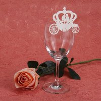 Wholesale Hot Wedding Decoration Laser Cut Crown Wine Glass Card For Wedding Party Favors Wedding Accessories
