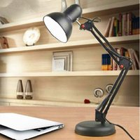 aluminum clip art - 220v Good Quality aluminum alloy American Table Lamp Foldable Long Arm Book Reading Light E27 Clip Desk Lamp