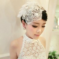 Wholesale Beautiful Handmade Lace Headdress Flower Hat Pearl For Women Wedding Hair Accessories Bridal Hats