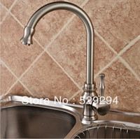 Wholesale Kitchen faucet Nickel finished sink mixer bar water tap degree roating long neck water tap Hot Cold kitchen faucet XK