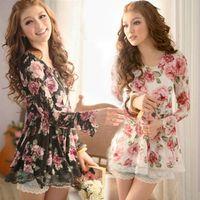 al por mayor nuevo vestido superior de las niñas-047 el envío libre 2016 mujeres de las camisas de la nueva manera de la impresión floral blanco negro de manga larga de encaje tapas de las señoras muchachas del otoño del resorte mini vestidos lindos