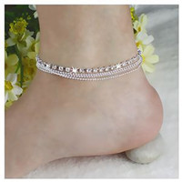 Wholesale Fashion Bohemian Womens Layers Crystal Beads Sandal Anklet Ankle Chain Foot Jewelry For Sale