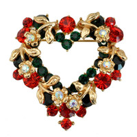 Cheap 2016 Valentine's Day Heart Brooches pin Diamond Flowers Garland Corsage gold Pins Banquet party jewelry Christmas gift Xmas pendant 170