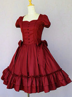 best female costumes - Vintage Elegant Palace Cotton Short Sleeve Buttons Big Bows Lolita Dress Best Quality With Customize