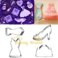 bag molds - High Heel Shoes Dress Bag Tie Stainless Steel Cookie Cutter Metal Molds Sandwich Fruit cutters Fondant Cake Decoration Tool Bake