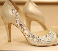 Heels evening shoes - High heels Champagne Rhinestone Shoes wedding shoes for Bridal Shoes Bridesmaid Dress Sandals Peep Toe Party Evening Shoes Summer Sandals