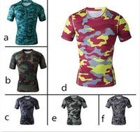 camouflage clothing - camouflage shirts New Men camo clothing Compression shirts Tights T Shirts Bodybuilding Outdoor Sports Wear Gym Running shirt free