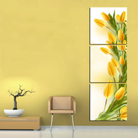Wholesale modern abstract panel wall art yellow tulip flower Pure hand painted on canvas art picture painting for home decoration