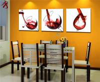 al por mayor taza de estar roja-3 Panel Modern Impreso Vino Tinto Cuadro Pintura Romántica Foto Sobre Lienzo Kicthen Decor Cuadros Paisaje Sala (Sin Marco)