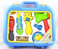 Wholesale Play house toy Q version catoon electric maintenance simulation tools model Mobile suit toolbox Pretend mechanic toy kids gift boy christmas