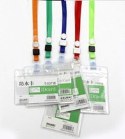 Wholesale Waterproof ID Card mm mm PVC Card holder with lanayrd Badge Holders PVC name card case name badge with strapT