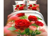 Wholesale 2015 Beautiful Red Rose D Print Piece Duvet Cover Bedding Sets Cotton Cheap High Quality Beading Suppliers