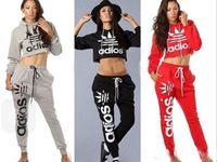 Wholesale Brand Fashion Sport Suits Women s Crop Top Sweatshirt Pants Set Adios Print Tracksuit Women Active Hoodies Sweatshirt Tracksuits