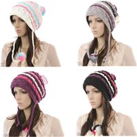 Wholesale Crochet Women s Hats Schoolgirl Caps Long Drooping Braids Knitted Caps Knitting Ladies Beanies colors White Black Gray Purple