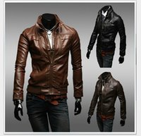 korean leather jacket - Men Leather Jackets Mens Stylish Outerwear Mens Korean Slim Jacket Motorcycle leather Jacket Stand Collar korean Discount Man Coats