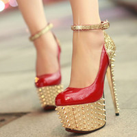 best us party decoration - Best Sparkling Wedding Shoes Patent Leather Bridal Shoes With Rivets Sequins Decoration High Cone Heel Party Prom Women Shoe