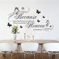 bathroom heaven - Simple Design Because Heaven Butterfly English Waterproof Bedroom Mural Wall Sticker DIY Home Decoration Wall Bathroom Dorm