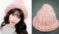beanie making - New Fashion Autumn And Winter Hand Made Paragraph Ultra Thick Line Knitted Hats For Women Womens Beanies Hat Winter cap JIA641