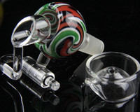 armed caps - 2015 New colorful glass bong Honey Bucket domeless quartz nail with carb cap Glass swing Arm glass bowl male joint more colors