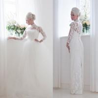 Sheath/Column beach house flooring - 2016 Over Skirt Lace Wedding Dresses High Neck Full Length Split With Illusion Sheer Long Sleeve Vintage Bridal Gowns house of mooshki Cheap