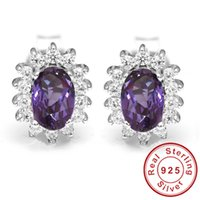 alexandrite stud earrings - 2016 Fashion Luxury Princess Diana William Engagement Wedding Alexandrite Sapphire Stud Earrings Set Solid Sterling Silver