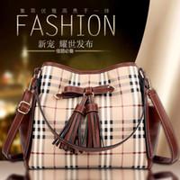 cheap branded bags - 2015 New Brand Fashion Designer Lady Plaid Hand Bags with Tassel Vintage High Quality Cheap Pu Leather Women Messenger Bags Freeship BGA038B