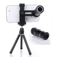 Wholesale Universal Clip X Zoom Lens Optical Zoom Telescope Camera Lens with Tripod for iPhone s Samsung S6 S5 S4 LG HTC phone lens Free Ship