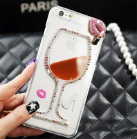plastic beer cup - 2015 New Float Quicksand Transparent Case Bling Red Wine Glasses Cocktail Beer Cup Mosaic Rhinestone Phone Cover Dor Iphone Plus H509