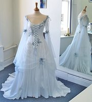 Wholesale Medieval Wedding Dresses Long Sleeves Elegant White Chiffon Vintage Bridal Gowns Princess Real Photos Lace up Victorian Bow Bride