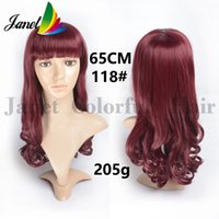 Wholesale 65cm inch Long wavy curly Synthetic wigs red burgundy Heat resistant fiber Free cap cosplay wig realistic Fashion