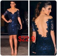 club dress lace - Sexy Lace Navy Sheath Club Dresses with Sleeves Sheer Neck Backless Cocktail Party Bodycon Gowns In Stock Cheap Fashion Women Skirt