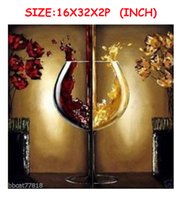 decorative glass art - Decorative Art Handmade Oil Painting On Canvas Living Room Home Decor Wall Paintings Wine Glass Two Pictures Large size