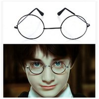 Wholesale 20pcs CCA2376 Hot Vintage Harry Potter Glasses Round Eyeglass Frames Halloween Cosplay Harry Potter Black Gold Silver Plain Mirror Glasses