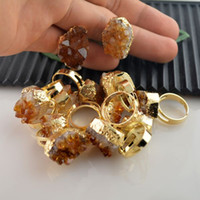 Wholesale Jewelry Making Druzy Rings Yellow Crystal Drusy Ring kt Gold Plated Edge